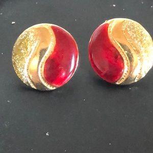 Glitter and enamel paisley earrings